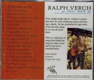 Ralph Verch No Other Would Do Back