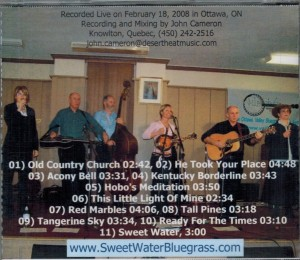 Sweet Water Bluegrass Gospel Band Live In Ottawa Back