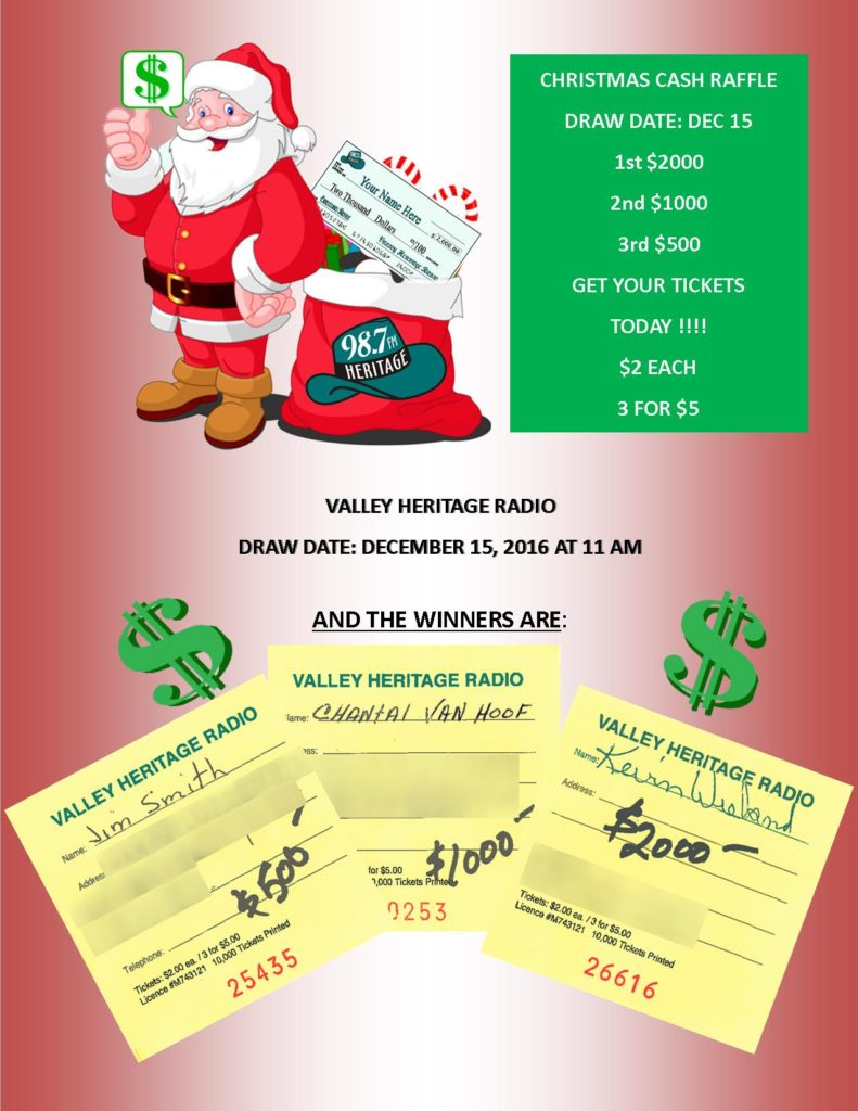 vhr christmas cash raffle winners valley heritage radiovalley vhr christmas cash raffle winners